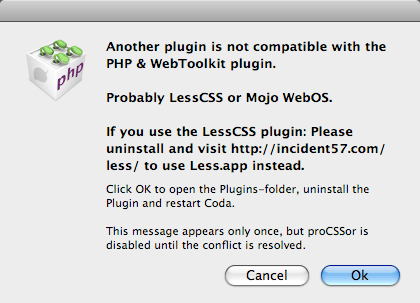 Another plugin is not compatible with the Coda PHP & Web Toolkit.